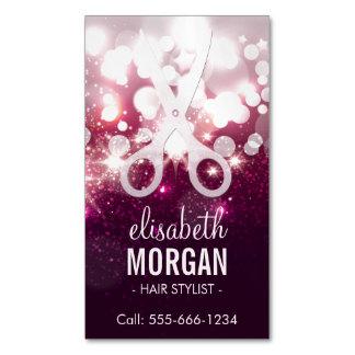 Estilista moderno - chispa rosada del brillo tarjetas de visita magnéticas (paquete de 25)