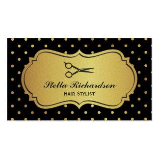 Estilista - negro y lunares del brillo del oro tarjetas de visita