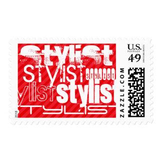 Estilista; Rayas del rojo del escarlata Timbre Postal
