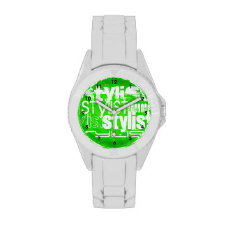 Estilista; Rayas verdes de neón Relojes De Mano