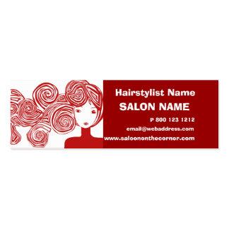 Estilista rojo de señora Classic Salon del pelo Tarjetas De Visita Mini