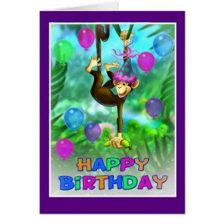 Estilo 002 de la selva del feliz cumpleaños tarjeta de felicitación