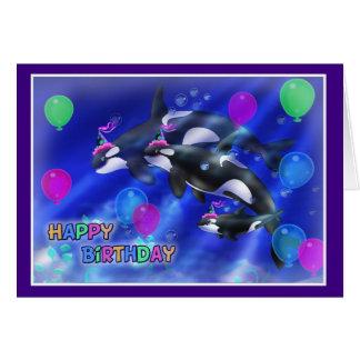 Estilo 012 de los pescados del feliz cumpleaños tarjeta de felicitación