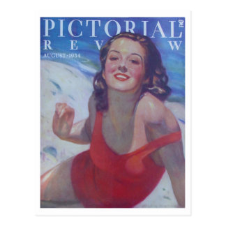 Estilo 1934 del traje de baño del vintage tarjeta postal