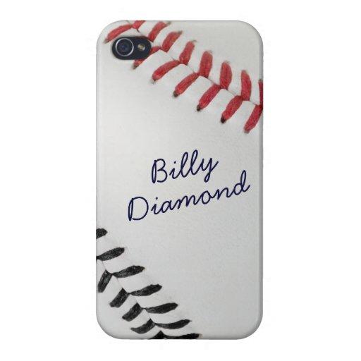 Estilo 1 de Baseball_Color Laces_rd_bk_autograph iPhone 4 Funda