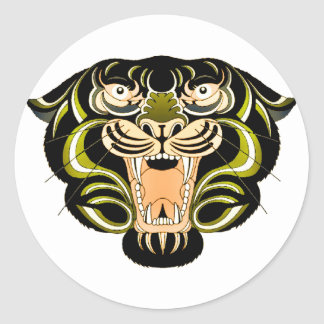 Estilo 1 del tigre pegatina redonda