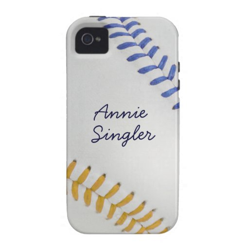 Estilo 2 de Baseball_Color Laces_go_bl_autograph iPhone 4 Carcasa
