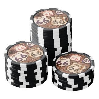 Estilo 2 de la ruta 66 de la cueva del hombre juego de fichas de póquer