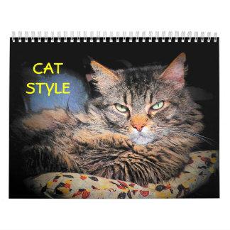 Estilo 2 del gato de DJ Calendario De Pared