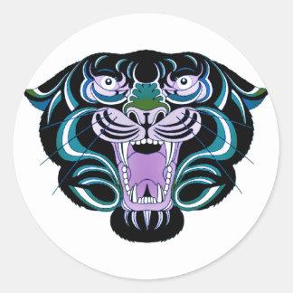 Estilo 2 del tigre pegatina redonda