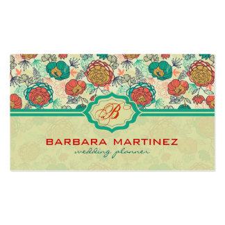 Estilo a mano de los rosas coloridos del vintage plantilla de tarjeta personal