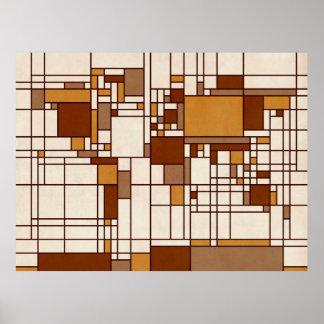 Estilo abstracto de Mondrian del mapa del mundo Impresiones