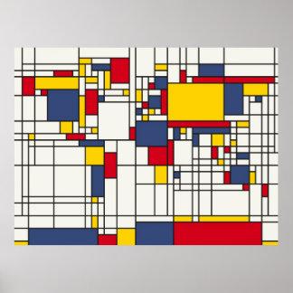 Estilo abstracto de Mondrian del mapa del mundo Posters