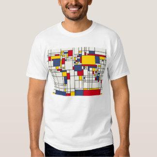 Estilo abstracto de Mondrian del mapa del mundo Poleras