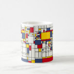 Estilo abstracto de Mondrian del mapa del mundo Tazas