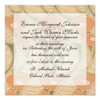 """estilo anaranjado del noueveau del arte de las invitación 5.25"""" x 5.25"""""""