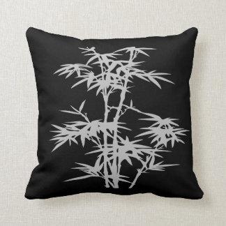Estilo asiático de bambú del zen en negro cojín