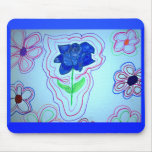 Estilo azul 2 Mousepad de la flor Tapetes De Raton