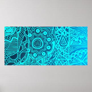 Estilo azul abstracto de la alheña póster