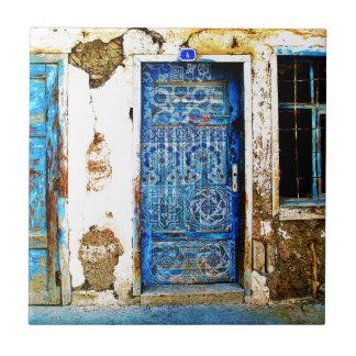 Estilo azul de Boho de la puerta del viejo vintage Tejas