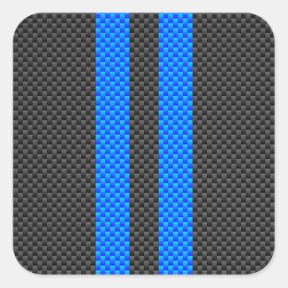 Estilo azul de la fibra de carbono del acento que pegatina cuadrada
