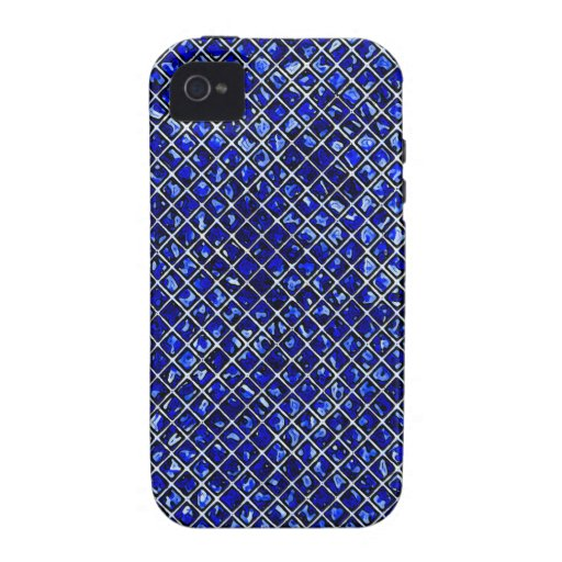 Estilo azul del vitral del diamante Case-Mate iPhone 4 funda
