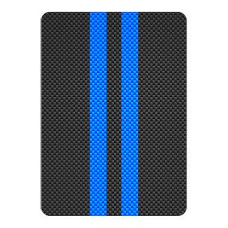 """Estilo azul deportivo de la fibra de carbono que invitación 5"""" x 7"""""""