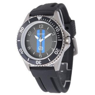 Estilo azul personalizado del carbono que compite relojes de pulsera