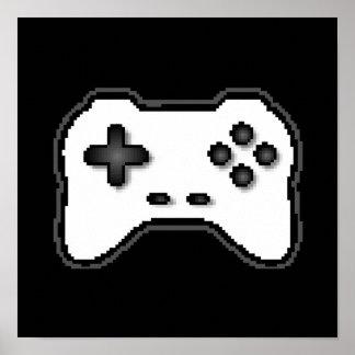 Estilo blanco del videojuego 8bit del negro del re poster