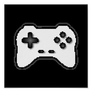 Estilo blanco del videojuego 8bit del negro del re póster