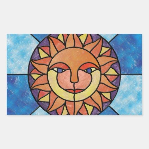 Estilo celestial del vitral del vintage de Sun Rectangular Pegatina