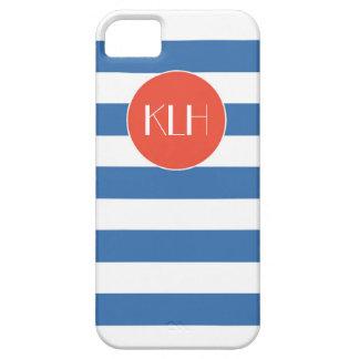 Estilo clásico de la cabaña de las rayas azules iPhone 5 protector