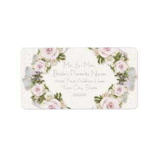 Estilo color de rosa floral romántico del vintage etiquetas de dirección