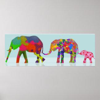 Estilo colorido del arte pop de 3 elefantes póster
