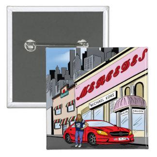 Estilo cómico del arte de la Comisión Pin Cuadrada 5 Cm