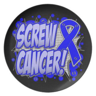 Estilo cómico del cáncer anal del tornillo plato de comida