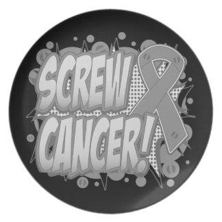 Estilo cómico del cáncer de cerebro del tornillo plato