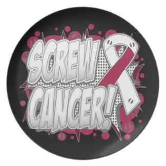 Estilo cómico del cáncer de garganta del tornillo plato de comida