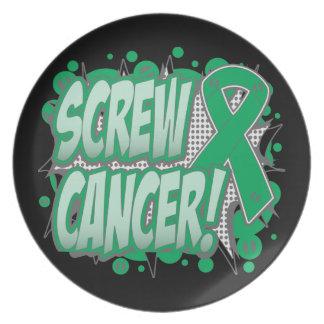 Estilo cómico del cáncer de hígado del tornillo platos de comidas