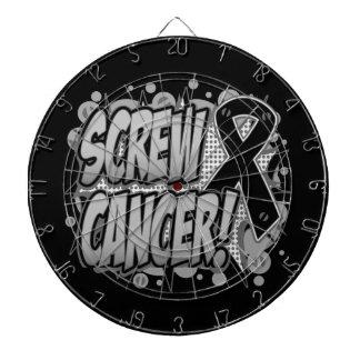 Estilo cómico del cáncer de piel del tornillo tabla dardos