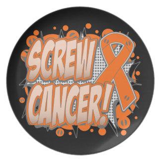 Estilo cómico del cáncer del riñón del tornillo plato
