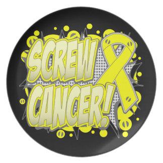 Estilo cómico del cáncer del sarcoma del tornillo plato de comida