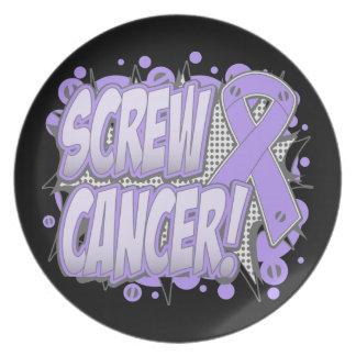Estilo cómico del cáncer del tornillo platos