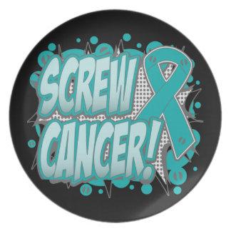 Estilo cómico del cáncer ginecológico del tornillo platos para fiestas