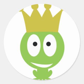 estilo cómico del rey lindo de la rana pegatinas redondas