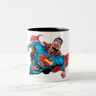 Estilo cómico del superhombre taza