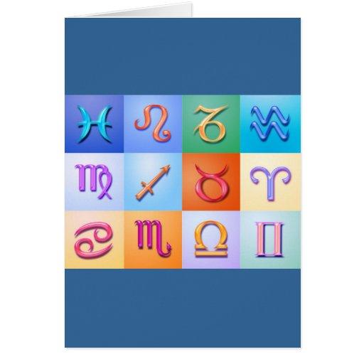 Estilo de 12 del zodiaco aguamarina de las tarjeta de felicitación