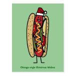 Estilo de Chicago del perrito caliente del navidad Tarjetas Postales