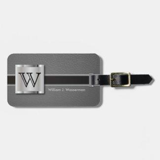 Estilo de cuero gris ejecutivo del monograma etiquetas para maletas