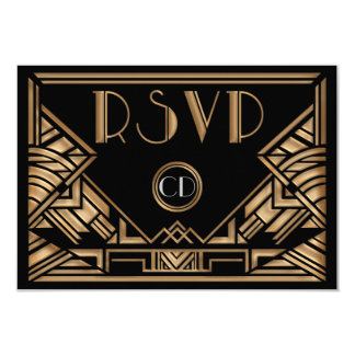 """Estilo de Gatsby del art déco que casa tarjetas de Invitación 3.5"""" X 5"""""""